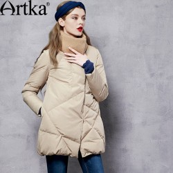 Artka Women's Winter New Patchwork 90% Down Outerwear Vintage Wind-proof Collar Long Sleeve Wide-waisted Down Coat ZK11365D