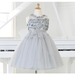 2016 Baby Girl 1 year Birthday Dress Silver Beaded Party Dress Princess baby girl dresses Christening Baptism Dress for newborn