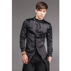 2017 men'sIndependent men's clothing summer unique asymmetrical shirt  Black silk shirt   Flax singer's clothing