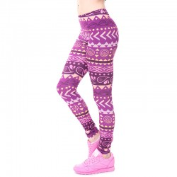 Purple Aztec National/Tribal Wind 3d Print Women's Leggings Triangle Geometric Pattern Feminino Stretch Leggins Top Quality