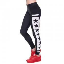 Women/Gilrs Funny Basic Leggings Lady Casual Town Wear Pant 3D Black White Stars Printing Slim Trousers