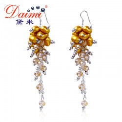 DAIMI 8.5cm Long Tassels Earrings Crystal & Freshwater Pearl Earrings Party Style