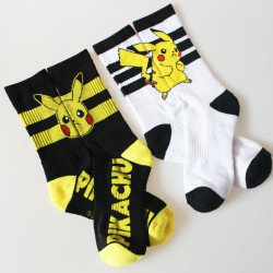 New Arrival Girl Unisex Winter Thick Cotton Cartoon Cute Pikachu Pokemon Stripe Knitted Casual Walking Women Socks 12pair/lot