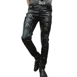 Stylish Metrosexual Tight PU Faux Leather Pants Male Punk Dance Pants For Men Hip Hop Men Pants 2016 Winter Slim Fashion Trend