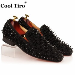 COOL TIRO Black Spikes Rhinestones Glitter Men Loafers Smoking Slipper Casual Shoes Wedding Dress Men's Flats Genuine Leather