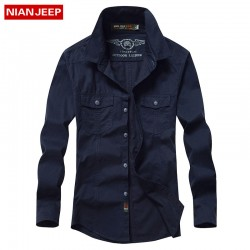 NIANJEEP Large Size 4XL100% Cotton 2016 Hot New Men Solid Long-sleeved Shirts Men Autumn America Casual Style Shirts Fit