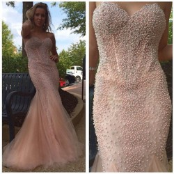 Luxury Sweetheart Sleeveless Pink Mermaid Pearls Prom Dresses Vestidos De Baile Long Court Train Tulle Evening Gowns