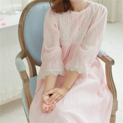 Autumn Vintage Nightgowns Long Lace Home Dress Cotton Sleep Shirts Solid Sleepwear Women Comfortable Nightgown Female #HH18