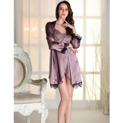 sexy women's plus size M L XL bathrobes free shipping 2016 summer style satin silk nightwear robes sleepwear female