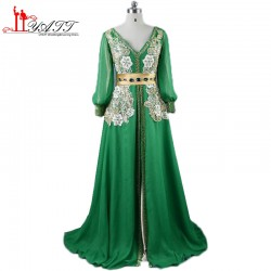 Real Photos Chiffon Kaftan Evening Dresses Long Green Appliques Long Sleeve Islamic Abaya V Neck Split Party Dress For Women