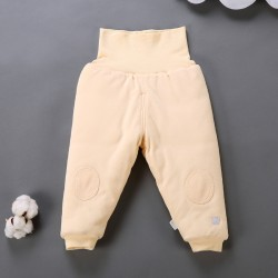 2016 New Baby Winter Warm Cotton Long Pants Toddler High Waist Pants Infant Abdomen protection trousers Support to open crotch