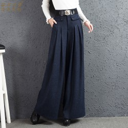 2017 autumn and winter Fashion casual plus size loose high waist female women girls clothes wide leg pants trousers