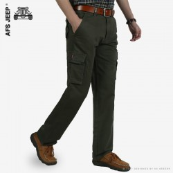AFS JEEP Overalls Pocket Cotton Military Pants Men Fashion Brand Casual Army High Quality Solid Business Loose Trousers Joggers