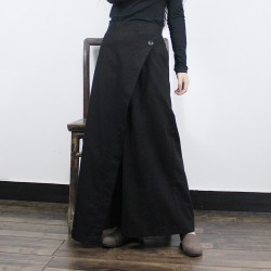 Fashion One Button Back Elastic Waist Wide Leg Women Cotton Linen Pants, Asymmetric Cut Large Flare Hem Loose Casual Trousers