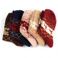 2016 Newly Design Christmas Deer Moose Design Casual Warm Winter Knit Wool Socks For Mens Women  50pairs/lot