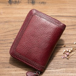 Botom Brand Genuine Leather Women Vintage Wallet Large Capacity Purse Ladie Luxury Real Leather Short Wallet Cowhide Card Holder
