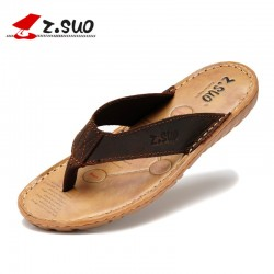Z.Suo Brand 2016 Plus Size 47 Men's Flip Flops Genuine Leather Slipper Summer Fashion Beach Sandals Shoes for Men Brown Black