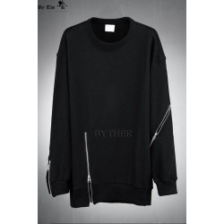 S-5XL ! Korean fashion Casual goths zipper men's T-shirt clothes punk long-sleeve T-shirt plus size hip-hop clothing !