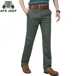 AFS JEEP Brand High Quality Black Green Cotton Men Pants Straight Long Pants Male Classic Business Casual Men Trousers 82