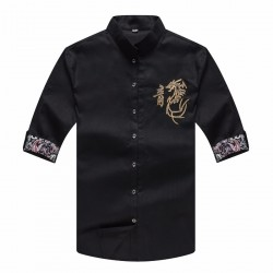 plus large big size 9xl 8XL 7XL 6XL 5XL 4XL design chinese dragon dianmond mount men silk shirt casual men short sleeve