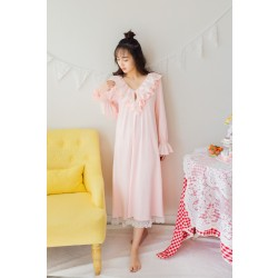 Free Shipping 2017 New Spring Princess Women's Long Nightgown Cotton and Lace Nihgtshirt  Pink and White Pijamas roupao feminino