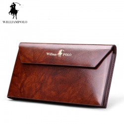 WILLIAMPOLO 2017 Card Wallet Men 10 Card Slots Genuine Leather Button Closure Fashion Long Men Wallet POLO174