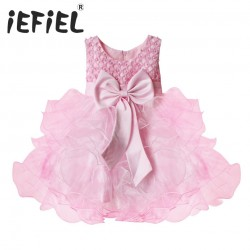 iEFiEL Princess Baby Girls Party Wedding Pageant Communion Princess Dress Wedding Bow Formal 3D Flower Pageant Dresses