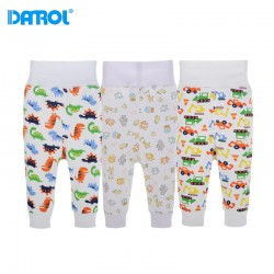 6M-24M 3pcs/lot Cotton Baby Clothes Elastic Cord Full Length Baby Pants High Waist Tummy Warm Newborn Trousers Infant DR0189