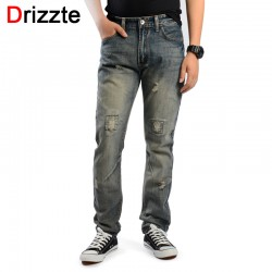 Drizzte Brand Mens Retro Ripped Distressed Jeans Grey Denim Jean Pants Trendy Men Trousers 33 34 35 36 38 40 42 44 Street Jeans
