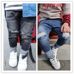 new 2017 Wholesale spring fashion baby cotton knee hole denim trousers