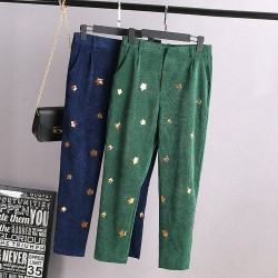 A0 Spring Casual Women Harem Pants 3XL Plus Size Clothes Bottoms Fashion Corduroy Loose sequin Trousers 2001