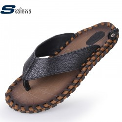Men Slippers Summer Breathable Genuine Leather House Slippers Men Flats All Match Casual Shoes AA10005