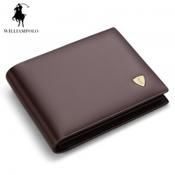 WILLIAMPOLO Genuine Leather Tri-fold Mens Small Wallet Brand Designer Men Purse Slim Wallet ID Credit Card Holder Brown POLO147