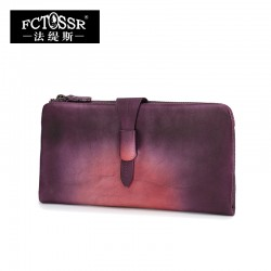 New Arrival Original Design Women Wallet Genuine Leather Vintage Women Long Clutch Card Holder Purse Three Colors