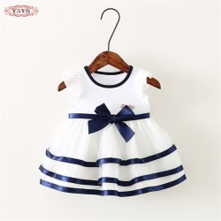 new 2017 summer baby dress cute fly sleeve infantil girls party dress bow mesh baby girl dresses for newborn princess dress