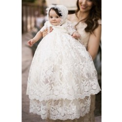 Vintage 2017 Lace baby girls Christening gowns baptism birthday dresses for girl boys toddlers outfit half sleeves D40