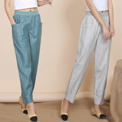 2017 Mother Summer Linen 9 Capris Pants Women High Waist Loose Ankle Length Trousers Pant Quinquagenarian Solid Casual Capris