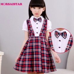 kids clothes baby summer dress school girl clothing graduation gown children cotton bow navy turn-down collar princess trolls