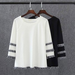 T8 Spring Casual Women T-shirt 5XL Plus Size Clothes Fashion Loose Tassel Three Quarter Sleeve Tees 3038