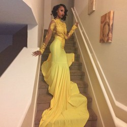 Sexy African Black Girl Yellow Mermaid Prom Dresses 2017 Court Train Appliques Lace Prom Dress Long Sleeve Evening Party Dress