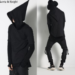 Men's Short Sleeve Black Magical Hoodie Hip Hop Dance Hooded T-shirt Tops