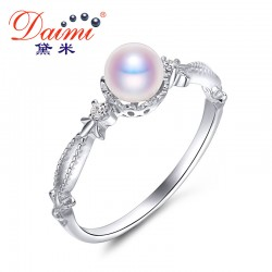 DAIMI 2017 New Fashion 5-5.5mm Akoya Pearl Rings 925 Sterling Silver Ring Female Fine Jewelry For Women Wonderful Party Gift