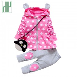 Toddler girl clothing sets 2017 Fashion Dot Print Hooded Children Clothing costume for kids sport suit girls outfits 0-4Years