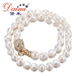 DAIMI Fashion Luxury Women Crystal Charm Leopard Necklaces 9-10mm Freshwater Pearl Choker Necklaces