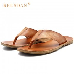 KRUSDAN High Quality Summer Breathable Man Casual Flat Heels Shoes Vintage Genuine Leather Beach Men's Roman Flip Flops OQ43