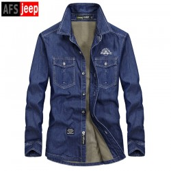 Afs Jeep2017 Winter Plus Velvet Thickened Male Denim Shirt Men Long Sleeves Casual Lap Shirt High Quality Warm Denim Tops  M-5XL