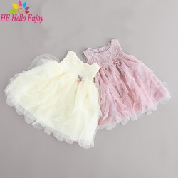 HEHello Enjoy 1 year birthday dress Sleeveless mesh ball gown princess dress summer 2017 baby girl dress newborn baptism dress