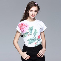 2017 New Arrival Fashion Cute Short Sleeve Flower Print T shirt O_neck High Quality Slim Women Tops
