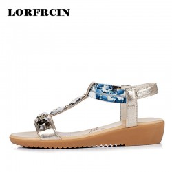 LORFRCIN 2017 New Bohemia Style Women Sandals Rhinestone T-strap Sandals Women Shoes Wedges Summer Shoes Plus size 35-43