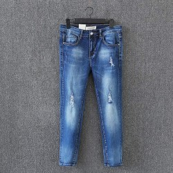 D6 Spring Summer Casual Women Skinny Jeans Plus Size Clothes Fashion Ripped hole Stretch Denim Ankle-length Pencil Pants 9007